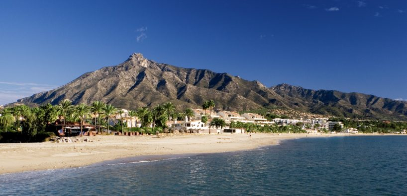View of La Concha Mountain from a Marbella beach