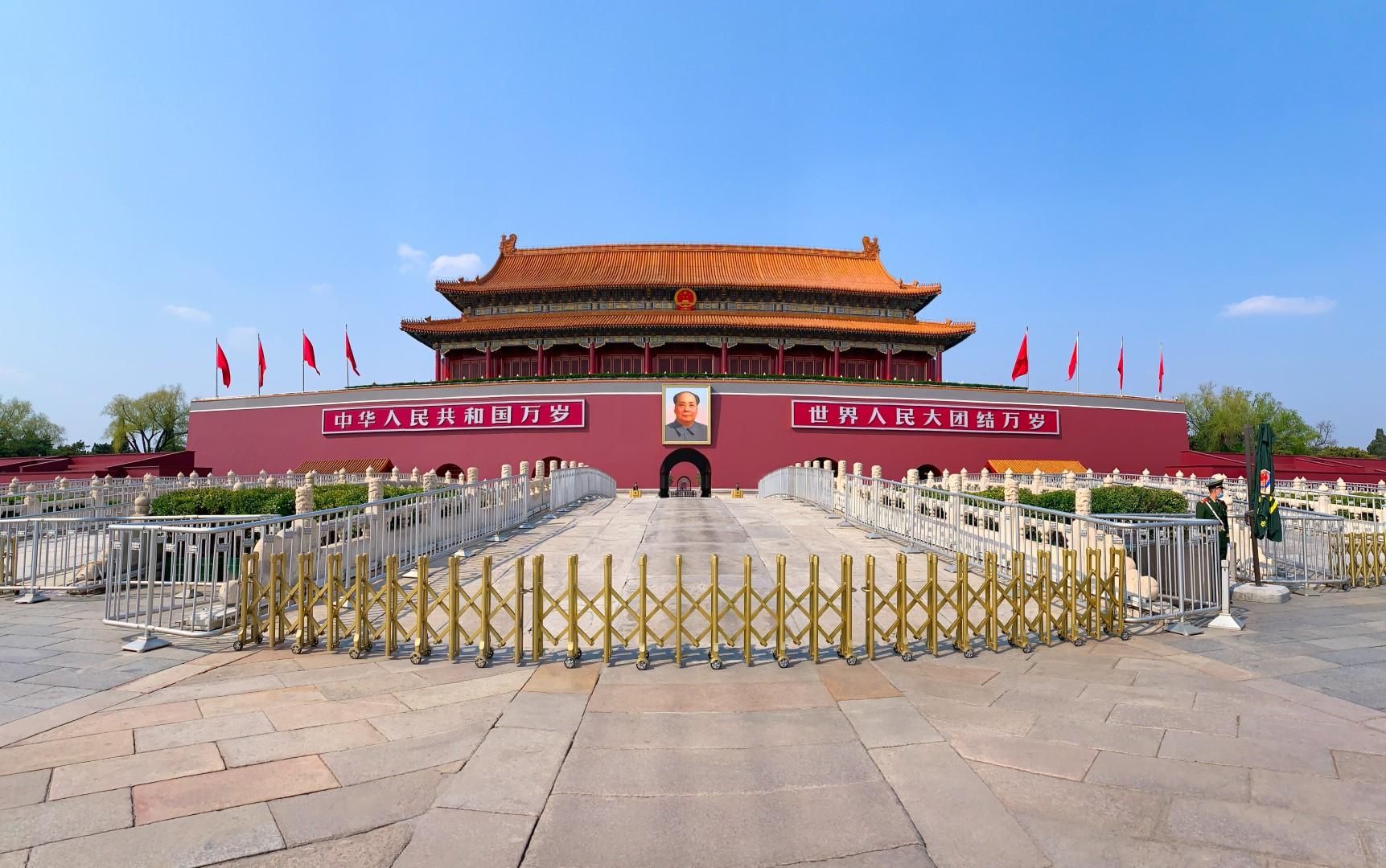 Beijing, China. Puerta de la Torre de Tinananmen sin visitantes.