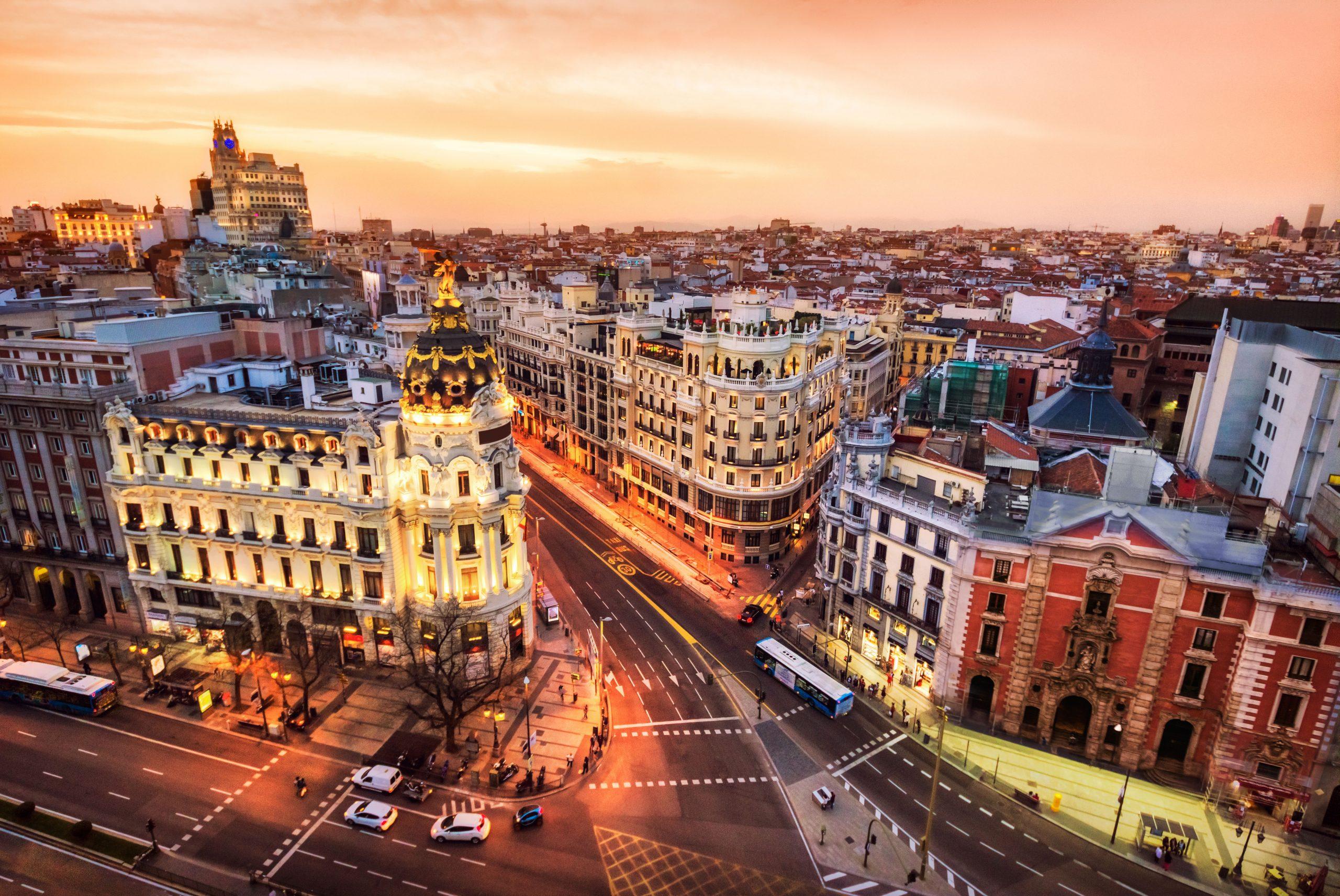 Aerial view of Gran Via in Madrid at dusk